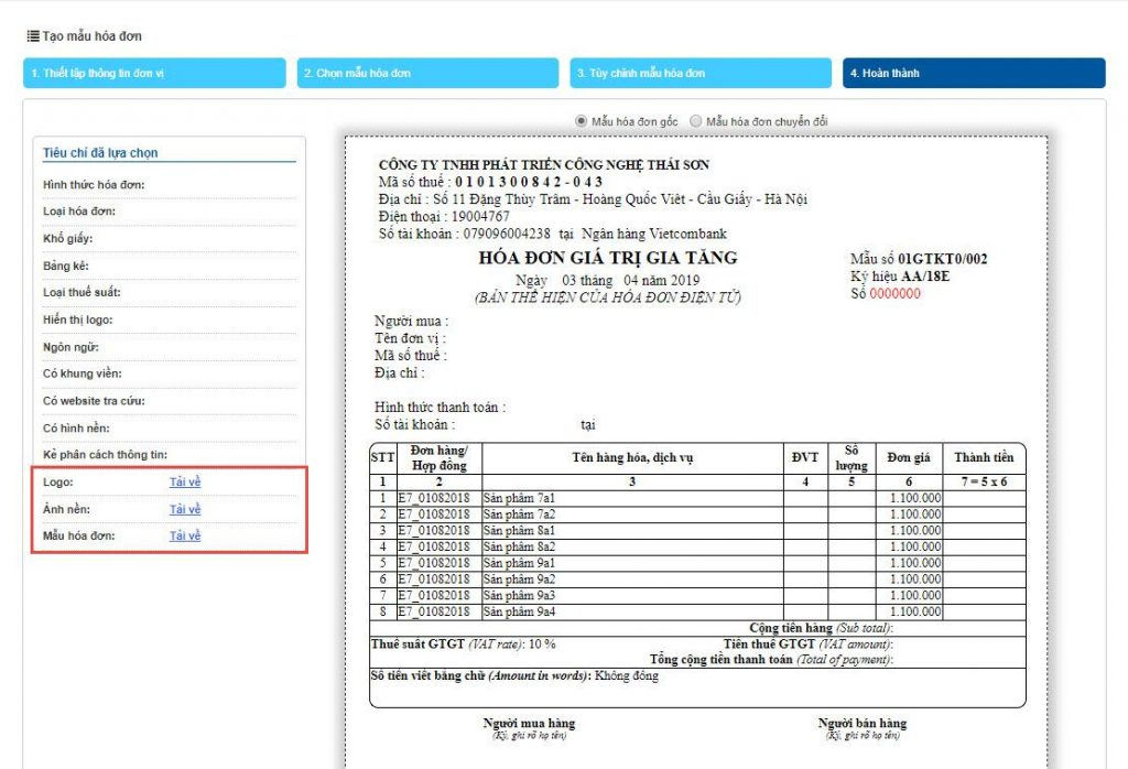 Einvoice hỗ trợ doanh nghiệp tự thiết kế mẫu hóa đơn đa dạng.