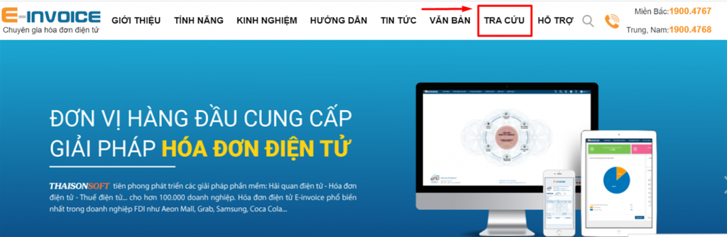 Tra cứu hóa đơn điện tử trên website Einvoice