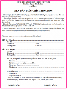 Biên bản điều chỉnh thông tin trên hóa đơn